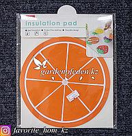 Подставка под горячее, с декором. Материал: Резина. Цвет: Оранжевый.