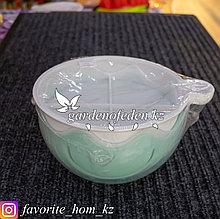Салатник с крышкой. Материал: Пластик. Цвет: Белый/Зеленый.