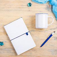 Набор подарочный FINELINE: кружка, блокнот, ручка, коробка, стружка, белый с синим, Белый, -, 39404 01 25