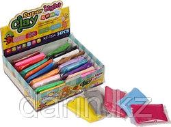 Глина полимерная детская в наборе. 24 пакетиков, инструмент.