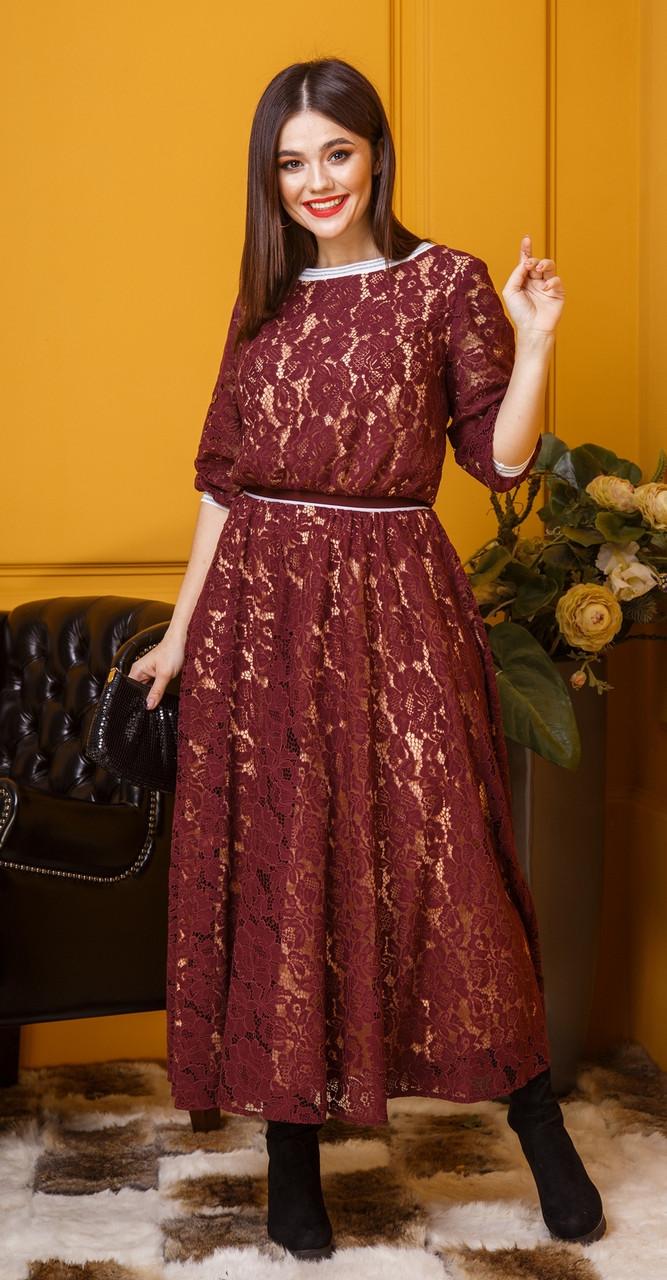 Платье Anastasia-384, бордовый, 48