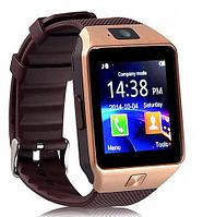 Умные часы [Smart Watch] с SIM-картой и камерой DZ09 (Золотистый с коричневым)