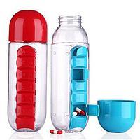 Бутылка с органайзером для таблеток (Голубой)