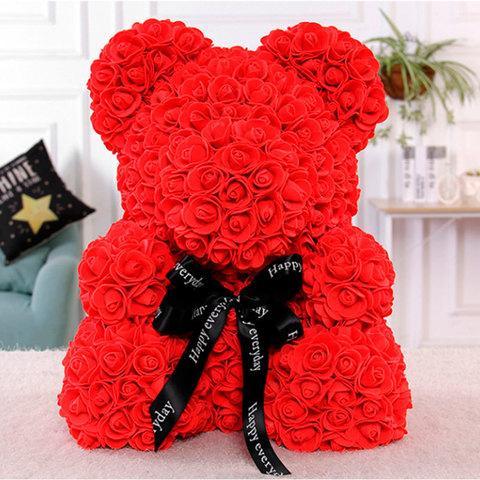 Мишка декоративный из роз с ленточкой в подарочной коробке [38 см] (Красный) - фото 1