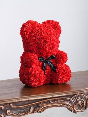 Мишка декоративный из роз с ленточкой в подарочной коробке [38 см] (Красный) - фото 6
