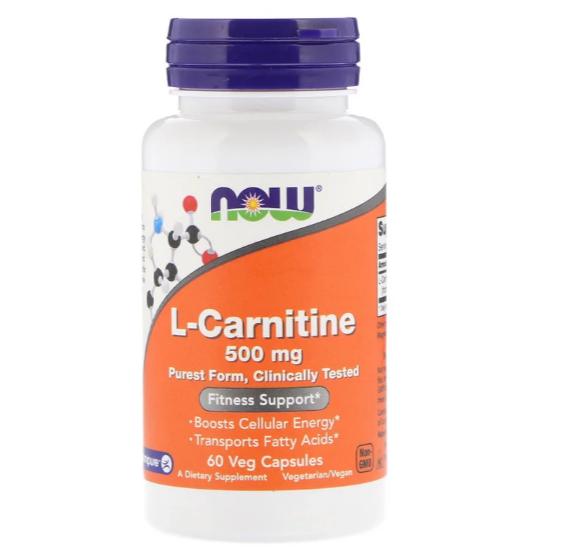 Now Foods, L-карнитин, 500 мг, 60 растительных капсул