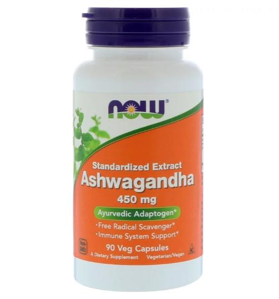 Now Foods, Ашвагандха, 450 мг, 90 растительных капсул