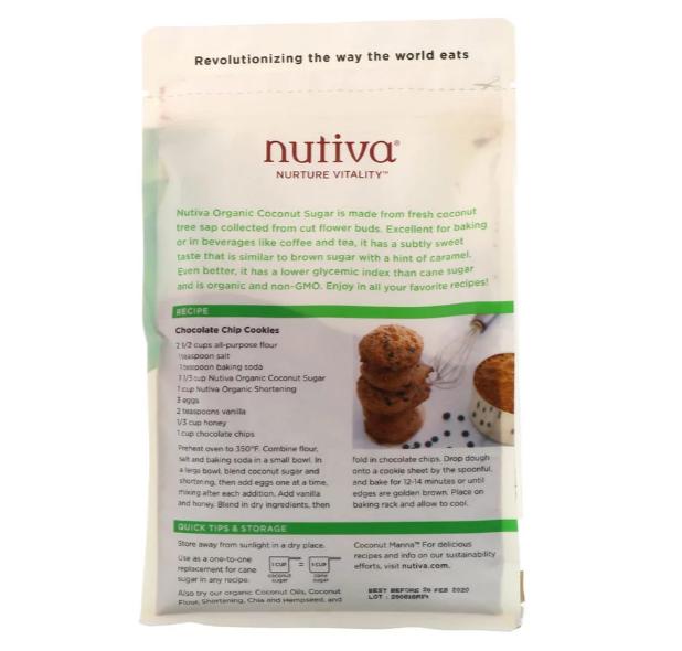 Nutiva, Органический кокосовый сахар, 454 г (1 фунт) - фото 2