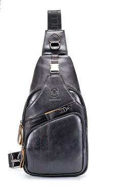 Мужской рюкзак-слинг  BULLCAPTAIN,  натуральная бычья кожа 100%, фото 2