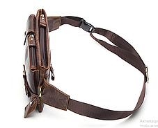 Мужская сумка на пояс , натуральная бычья кожа 100%, фото 2