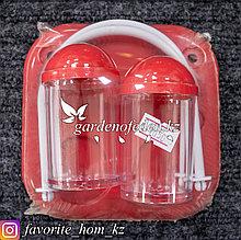 Набор для специй (солонка, перечница), с подставкой для салфеток. Материал: Пластик. Цвет: Красный/Прозрачный.