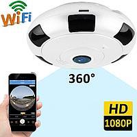 Потолочная/настенная WiFi IP видеокамера наблюдения 360 градусов с режимом 3д