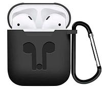 Силиконовый чехол для Apple AirPods с держателем (черный)