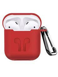 Силиконовый чехол для Apple AirPods с держателем (красный)