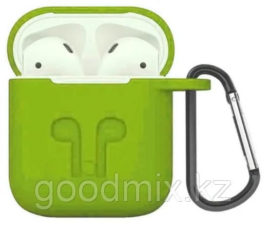 Силиконовый чехол для Apple AirPods с держателем (зеленый)