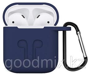 Силиконовый чехол для Apple AirPods с держателем (синий)