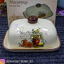 """Масленка с декором """"Милый дом"""". Материал: Керамика. Цвет: Бежевый/Коричневый."""