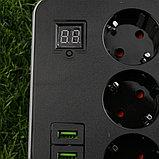 Сетевой фильтр удлинитель с таймером Smart Power SM03, 2m, 3 розетки + 3xUSB черный Арт.6336, фото 3