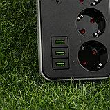 Сетевой фильтр удлинитель с таймером Smart Power SM03, 2m, 3 розетки + 3xUSB черный Арт.6336, фото 5