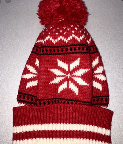 Шапка красная снежинка, фото 2