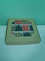 Коробка с окном 28*28*5см с разделителями, крафт