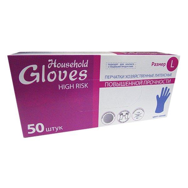 Перчатки Хайриск латексные повышенной прочности неопудренные р-р L , 50 шт