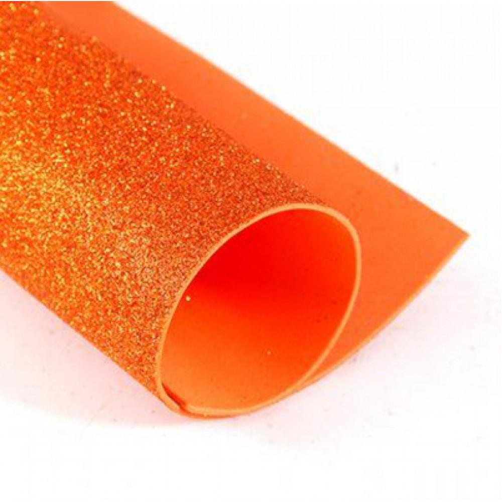 Фоамиран глиттерный, Оранжевый, формат А3 10 шт , Алматы
