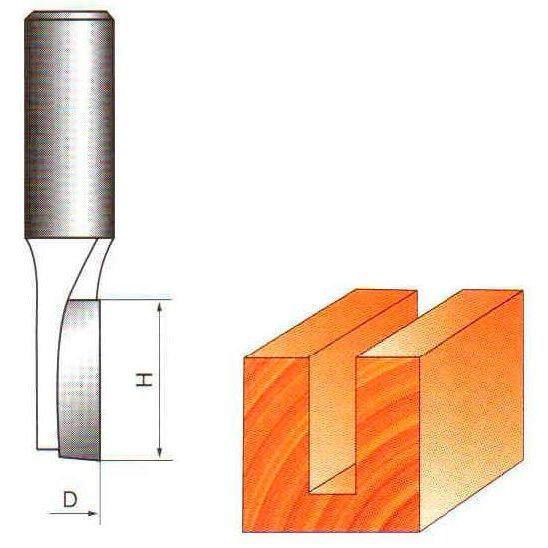 Фреза прямая пазовая Глобус D=3,l=12,d=8mm.z:1 арт.1001 D3