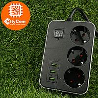 Сетевой фильтр удлинитель с таймером Smart Power SM03, 2m, 3 розетки + 3xUSB черный Арт.6336
