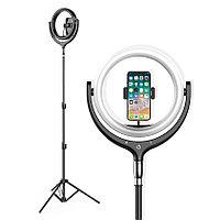 Светодиодная кольцевая селфи лампа со штативом и держателем для телефона, фото 1