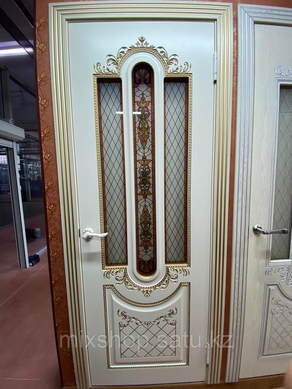 Межкомнатная дверь - Александрия (cлоновая кость) эмаль-золото