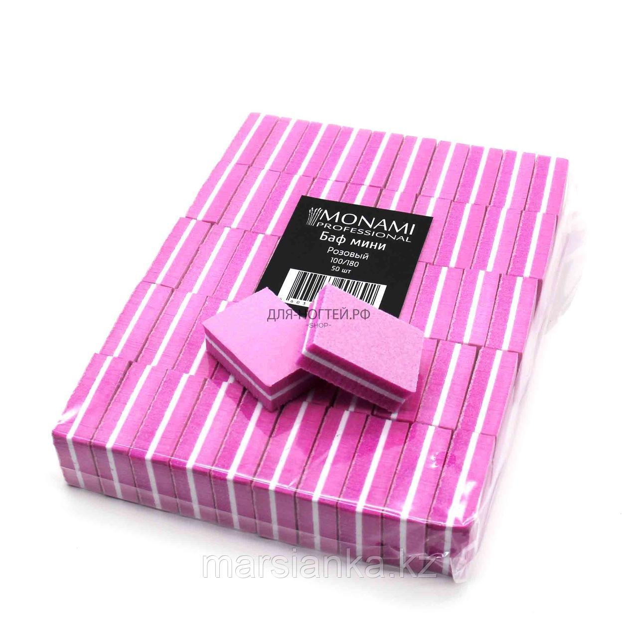 Мини баф Monami 100/180, 50шт розовый