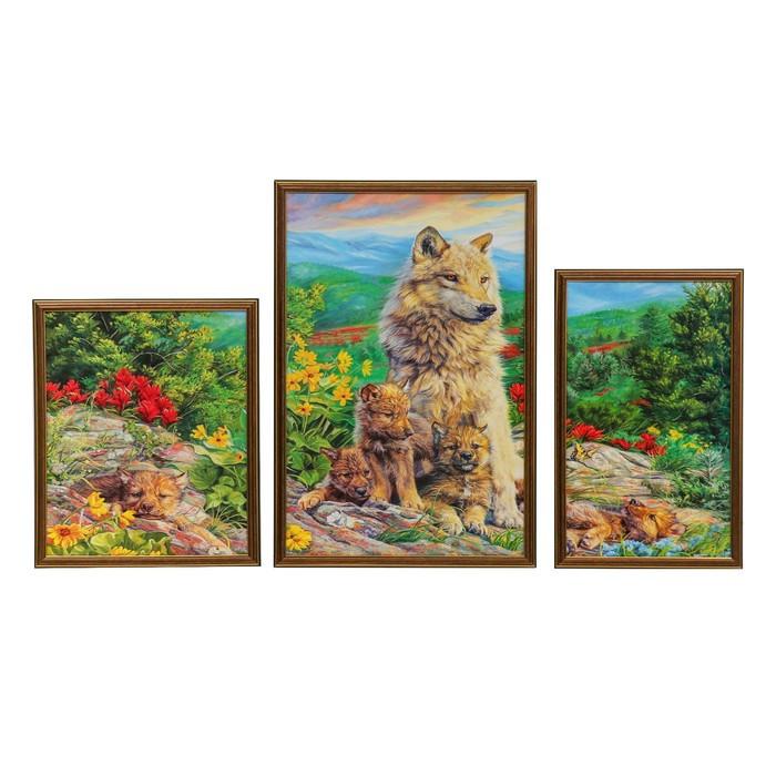 """Модульная картина """"Волки в летнем лесу"""" 33*40-1, 39*59-1, 27*45-1, 60х100 см"""