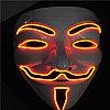 """Неоновая маска """"Гая Фокса"""" оранжевая, с небольшим браком."""