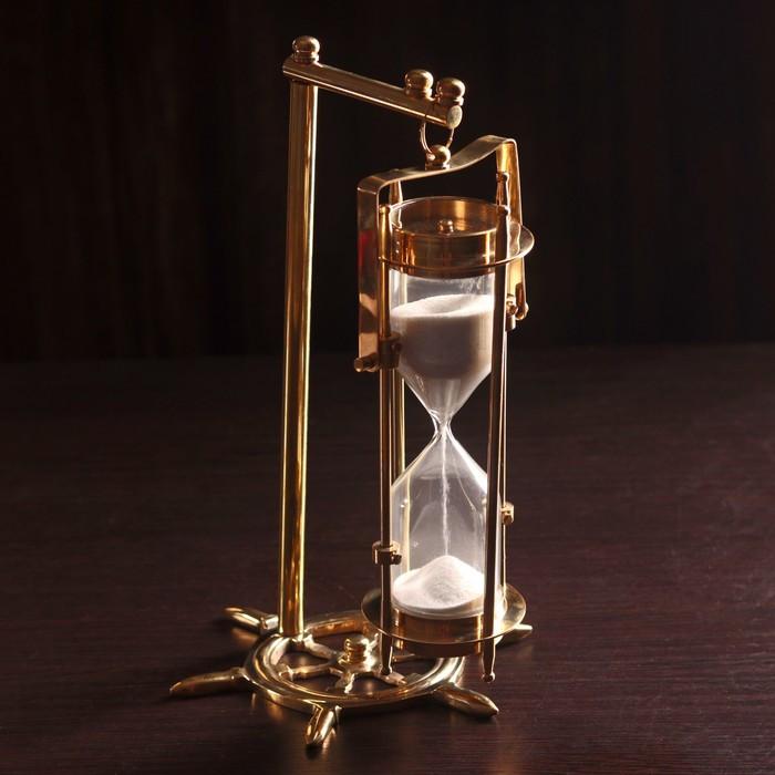 """Песочные часы """"Подвесные и компас"""" латунь, стекло, песок (5 мин) 15х15х26 см"""