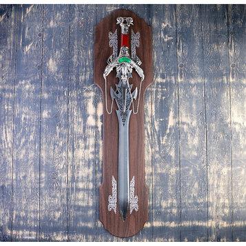 Сувенирный меч на планшете, клинок 64см, рукоять Двуглавый дракон
