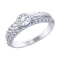 Серебряное кольцо с фианитом SOKOLOV (94012638)