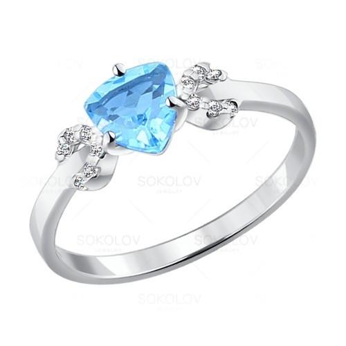 Серебряное кольцо с фианитом SOKOLOV (92011038)