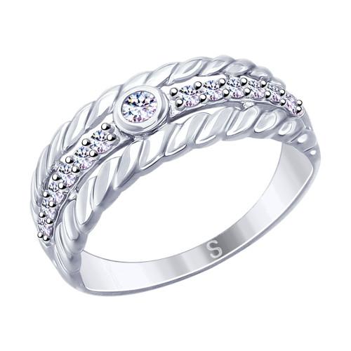 Серебряное кольцо с фианитом SOKOLOV (94012628)