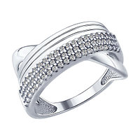 Серебряное кольцо с фианитом SOKOLOV (94012175)