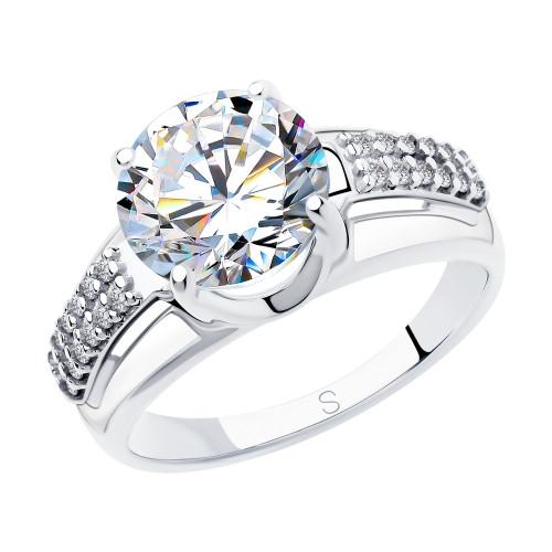 Серебряное кольцо с фианитом SOKOLOV (94012930)