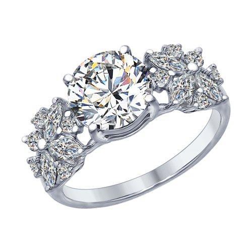 Серебряное кольцо с фианитом SOKOLOV (94012395)