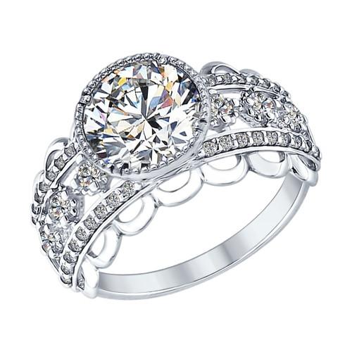 Серебряное кольцо с фианитом SOKOLOV (94012572)