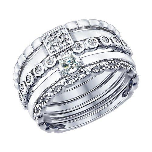 Серебряное кольцо с фианитом SOKOLOV (94011707)