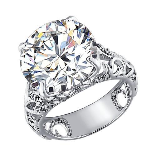 Серебряное кольцо с фианитом SOKOLOV (92010526)