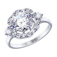 Серебряное кольцо с фианитом SOKOLOV (94012950)