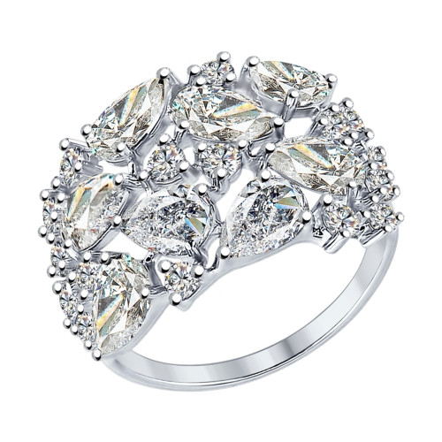Серебряное кольцо с фианитом SOKOLOV (94012236)
