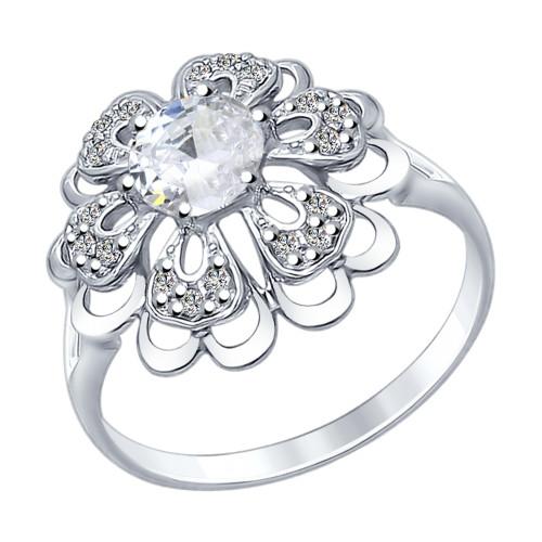 Серебряное кольцо с фианитом SOKOLOV (92011383)
