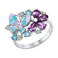 Серебряное кольцо с фианитом SOKOLOV (94012320)