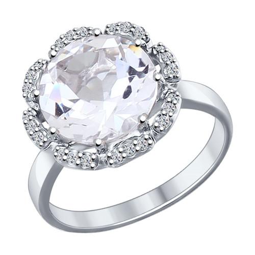 Серебряное кольцо с фианитом SOKOLOV (92011206)
